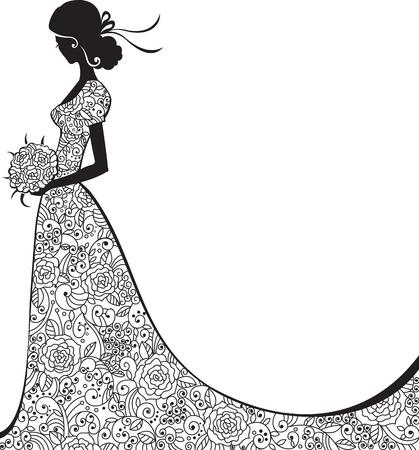 Wedding background with bride in floral dress Illustration