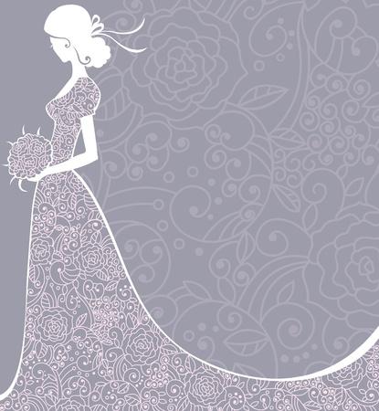 Wedding floral background with bride.  illustration. Illustration
