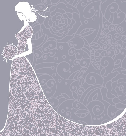 Wedding floral background with bride.  illustration. 矢量图像