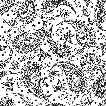 Paisley-Muster. Schwarz auf Weiß Illustration
