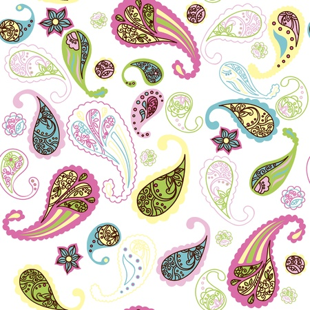 Paisley colored seamless pattern on white background Vector