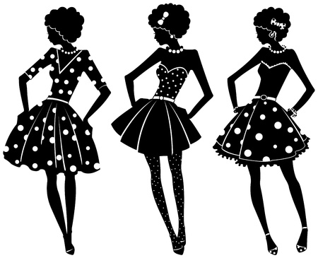 Three silhouettes of pretty women in dresses Vector