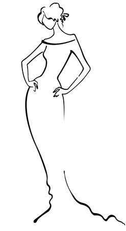 Contour of fashion girl.