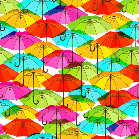 Seamless pattern with bright colorful umbrellas. Vector illustration, EPS10 Vector