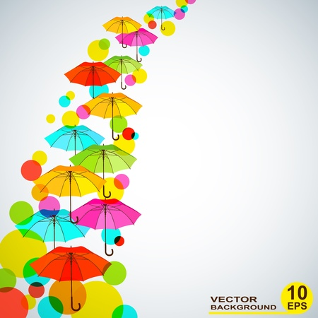 Abstrakt background with bright colorful umbrellas. Vector illustration, EPS10 Vector