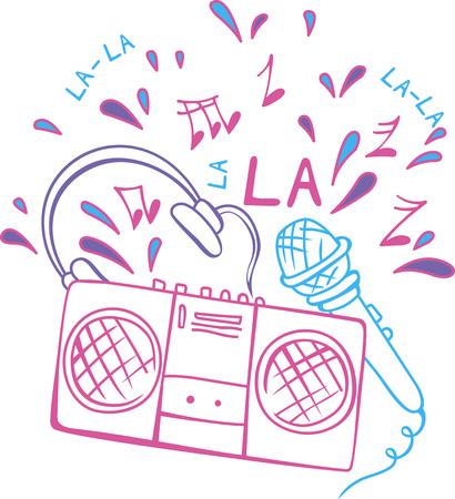 magnetofon: Magnetofon, mikrofon i słuchawki z nut