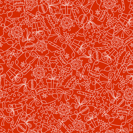 Christmas Seamless pattern on red background 矢量图像