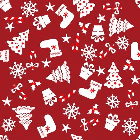 Christmas Seamless pattern on red background Vector