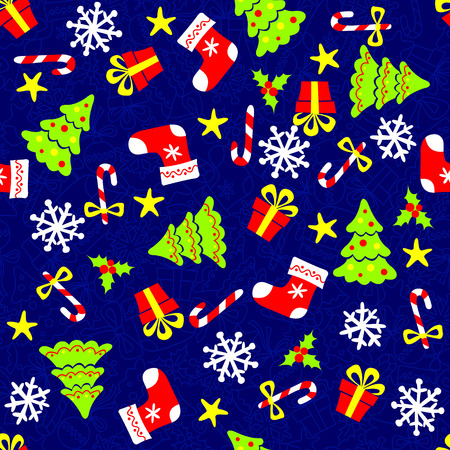 Christmas Seamless pattern on blue background Vector