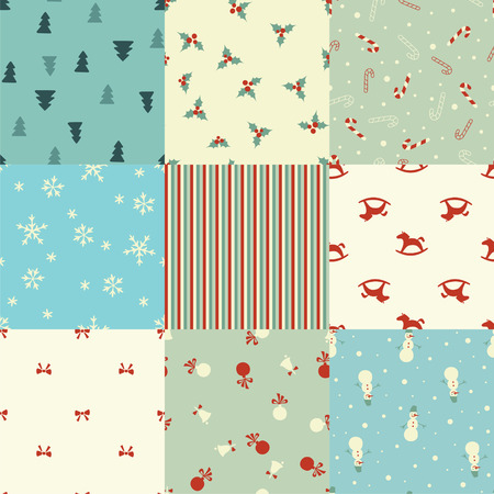 Set of Christmas seamless patterns in retro style Vector