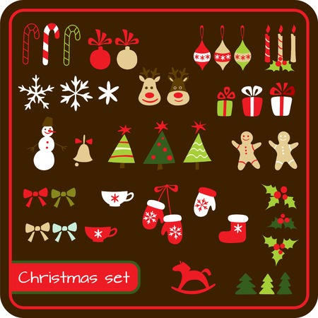Set of  Christmas graphic elements. Vector illustration Vector