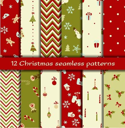 Set of 12 Christmas seamless patterns. Vector illustration Vector