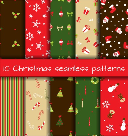 Set of  10 Christmas seamless patterns. Vector illustration Vector