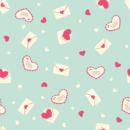 Valentine s seamless pattern with envelopes and hearts Vector