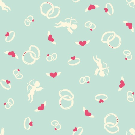 Valentine s seamless pattern with angels, rings and hearts Vector
