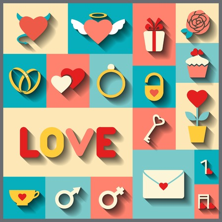 Set consists 18 vector colorful icons for wedding or Valentines day Vector
