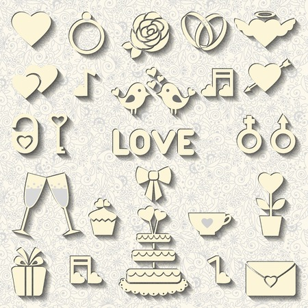 Set consists 22 vector icons for wedding or Valentines day Vector