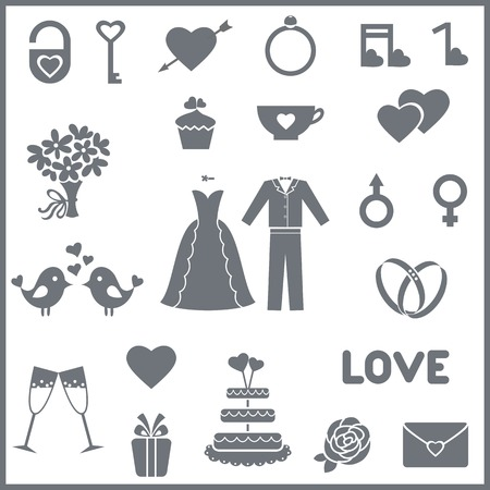 bride groom: Set consists 23 vector icons for wedding or Valentines day Illustration