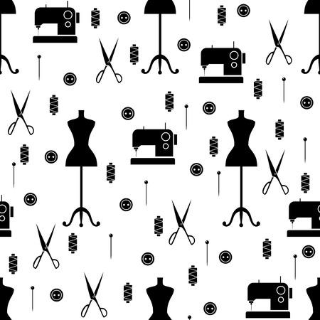 Nahtlose Muster mit Nähelemente Vektor-Illustration