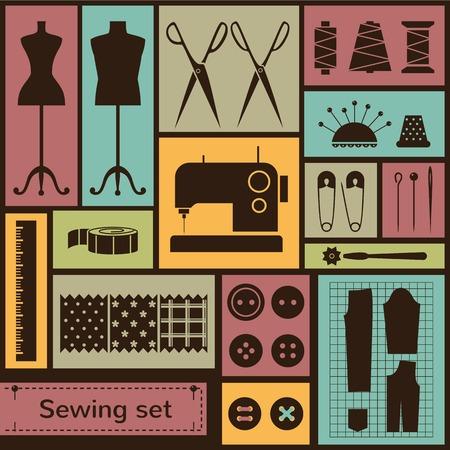 manikin: Set de iconos vectoriales planos con elementos de costura Vectores