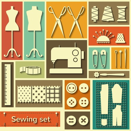 Set of flat vector icons with sewing elements Illustration