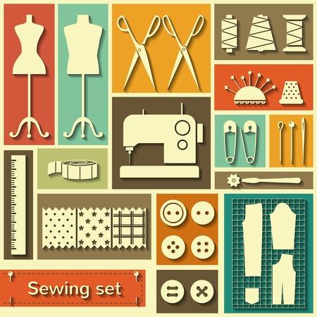 Set von Vektor-Icons mit Flach Nähelemente