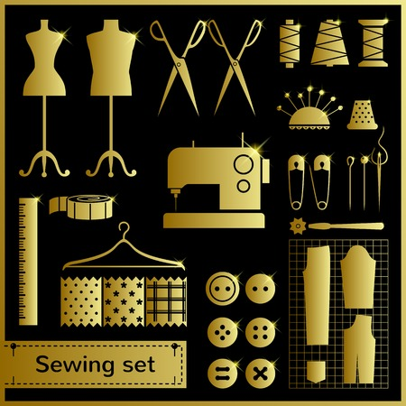 Set of flat vector icons with sewing elements Vector