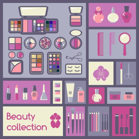 make up: Set of cosmetics icons  Makeup vector illustration