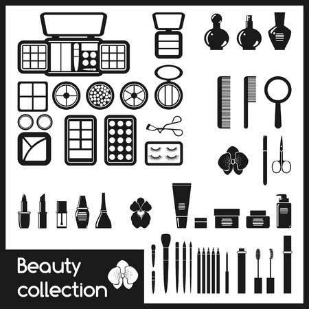 Set of cosmetics icons  Makeup vector illustration