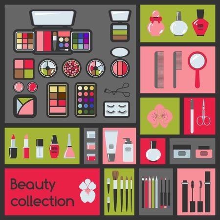 nail file: Set of cosmetics icons  Makeup vector illustration