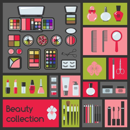 Set van cosmetica iconen Make vectorillustratie