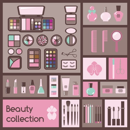 cosmetics collection: Set of cosmetics icons  Makeup vector illustration