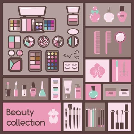 makeup powder: Set of cosmetics icons  Makeup vector illustration