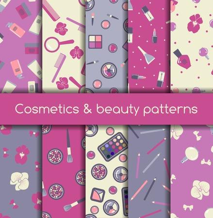 nail file: Set of ten cosmetics and beauty seamless patterns