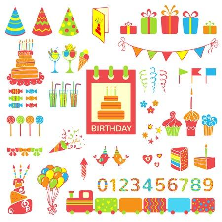 kutlamalar: Doğum günü partisi elemanları vektör illüstrasyon Set Çizim