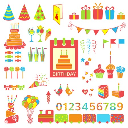 Set of birthday party elements  Vector illustration