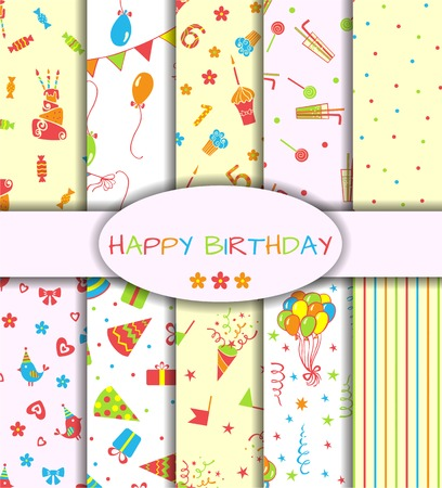 Set of ten happy birthday patterns  Vector illustration Vector
