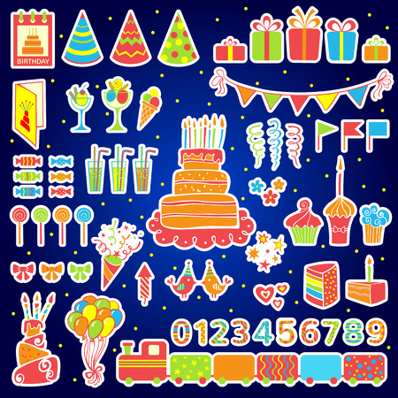 Set of birthday party elements  Vector illustration Vector