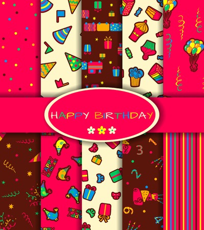 Set of ten happy birthday patterns. Vector illustration Vector