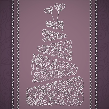 Wedding cake with floral ornament. Vector illustration Vector