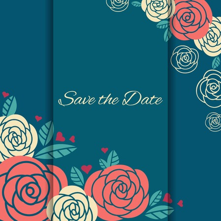 Elegant wedding card with roses. Vector illustration