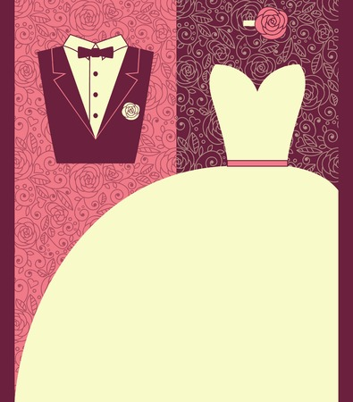 Wedding card in elegant style. Vector illustration