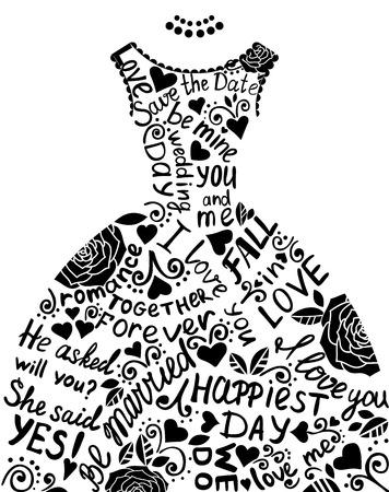ウェディングドレス: エレガントなレースのウェディング ドレスの結婚式招待状。ベクトル イラスト