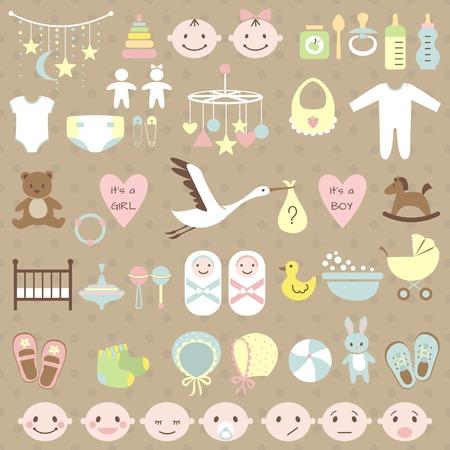 cigueña: Conjunto de elementos de la ducha del bebé. Ilustración vectorial