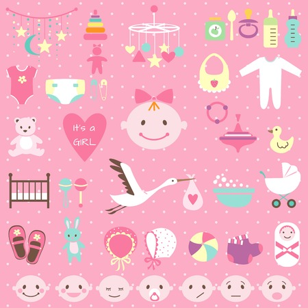 Set of baby shower elements isolated on white background. Vector illustration Vector