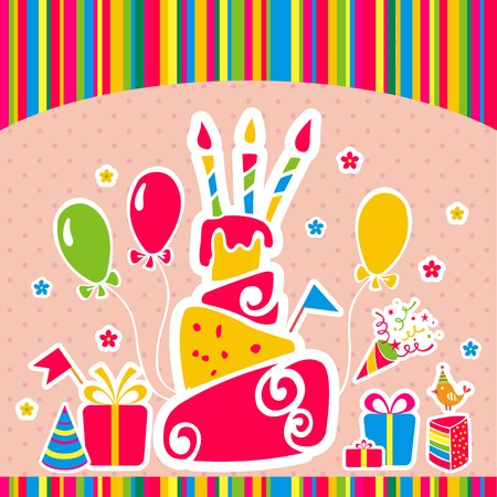 Happy birthday card with cake and gifts. Vector illustration Vector