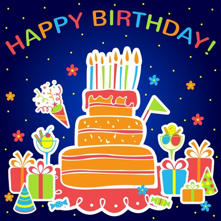 birthday cupcakes: Happy birthday card with cake and gifts. Vector illustration