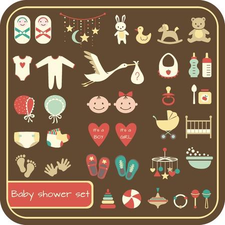 Set of baby shower elements. Vector illustration Vector