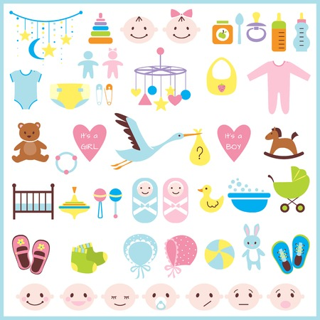 baby footprint: Set of baby shower elements isolated on white background. Vector illustration Illustration