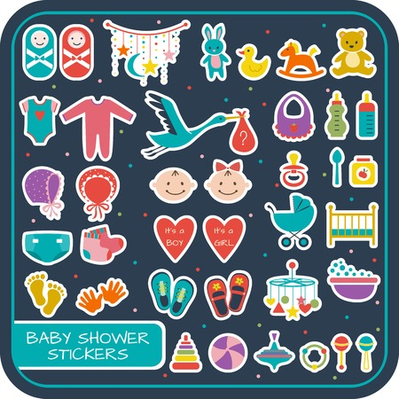 Set of baby shower stickers. Vector illustration